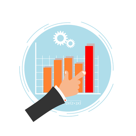 formal signature: Bright blue background with a chart and the hand of man. Business. Flat design. Vector illustration.