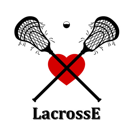 Crossed lacrosse stick, ball and heart. Vector illustration Stock Illustratie