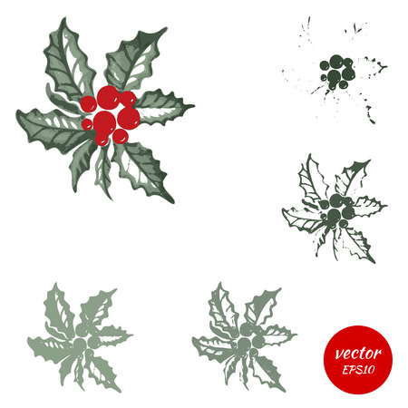 christmas watercolor: Set holly berry, sprigs of green isolated on white background. Symbol of Christmas, watercolor holy. Vector illustration. Illustration