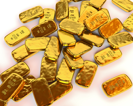 gold yellow: Gold bars are scattered on a white surface. 3D illustration. render