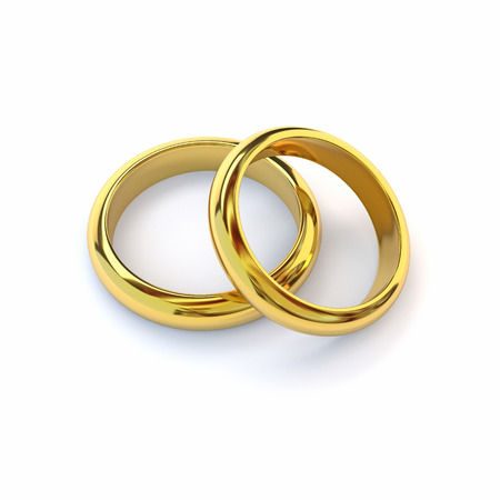 wedding bands: Two gold wedding bands on white background. 3d render. Stock Photo