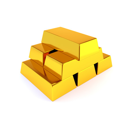 goldbar: Shiny gold ingots on a white background. Business success concept. 3D illustration, render. Stock Photo