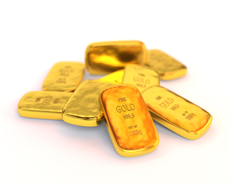 goldbar: Gold bars on a white background. Business concept. 3D Illustration.