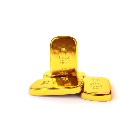 Shiny gold ingots of the highest standard on a white background. 3D illustration, render