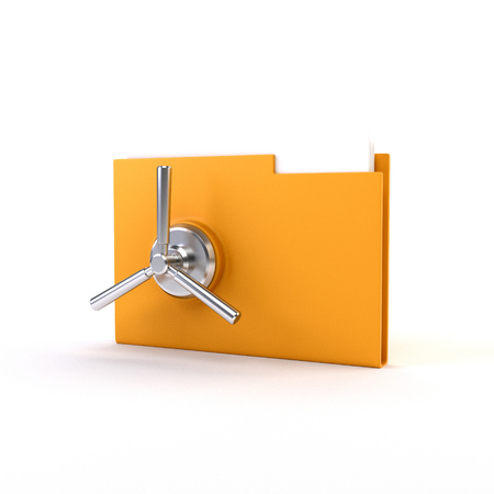Yellow office folders with safe locks. 3D illustration. render Stock Photo