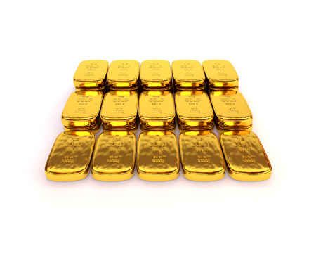 white bars: Shiny gold ingots of the highest standard on a white background. 3D illustration