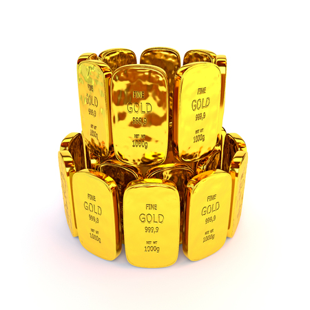 path to wealth: Gold bars in a stack. 3D illustration Stock Photo