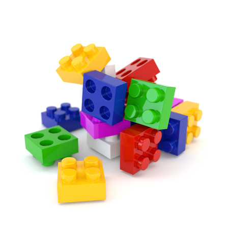 toy blocks: Set of multicolored plastic toy blocks isolated on a white background. 3d illustration. Stock Photo