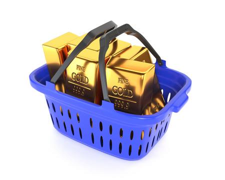 bullion: Plastic basket and gold bullion isolated on a white background.