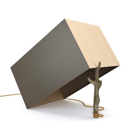 Les pièges de la boîte et des branches isolées sur fond blanc. 3d illustration.