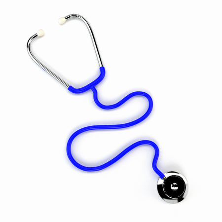 listening to heartbeat: Doctors stethoscope isolated on a white background. 3d illustration.