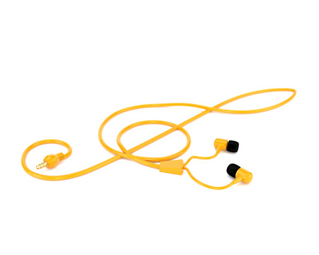 multifunction: The music concept headphones with a yellow cable in the form of a treble clef isolated on white background. 3d illustration.