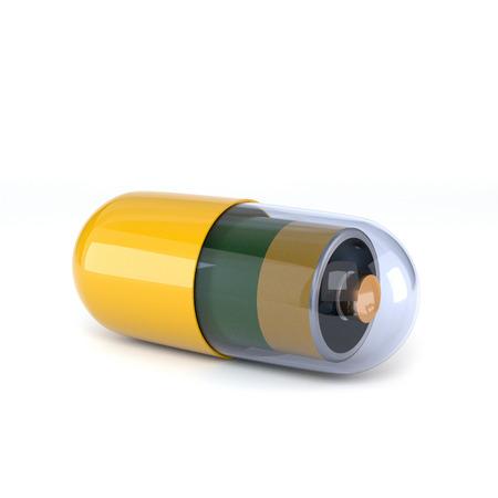 흰색 배경에 고립 된 내부 전기 배터리와 함께 노란색 캡슐.