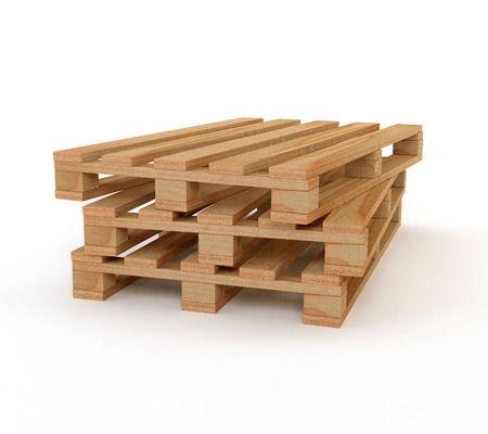 euro pallet: A set of wooden pallets isolated on white background. 3d illustration.