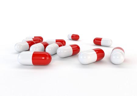 malaise: Set capsules isolated on white background. 3d illustration. Stock Photo