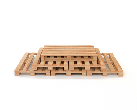 euro pallet: A set of wooden pallets for transportation and storage of cargo  goods isolated on white background. 3d illustration.