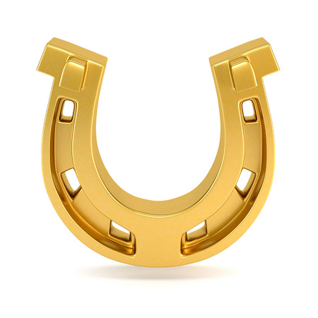 herradura: Gold horseshoe isolated on white background. 3d illustration.