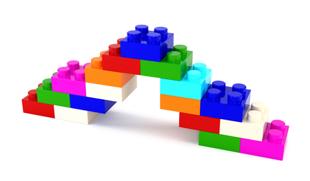 quality icon: Set of multicolored plastic parts designer isolated on a white background. 3d illustration.