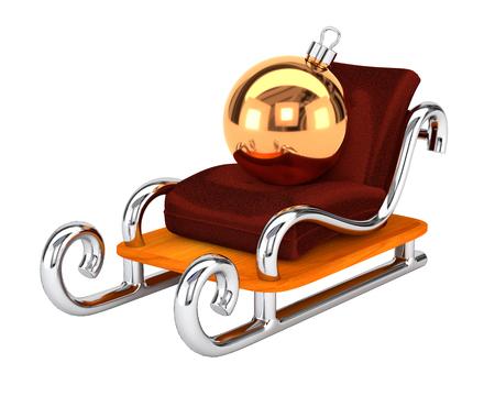 trineo: trineo de Santa con un juguete de Navidad aislado en el fondo blanco. El concepto de entrega de regalo festivo. Ilustración 3D.