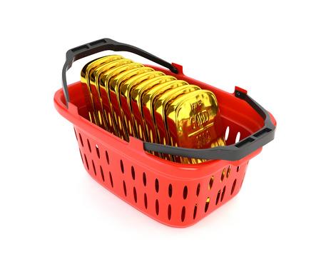 bullion: Red plastic basket and gold bullion isolated on a white background. Stock Photo