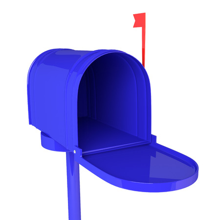 metal mailbox: Open blue mailbox with letters on white background. 3D illustration, render