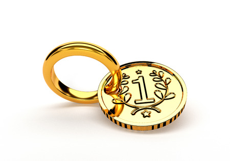 gold ring: Wedding gold ring and coin isolated on white background.