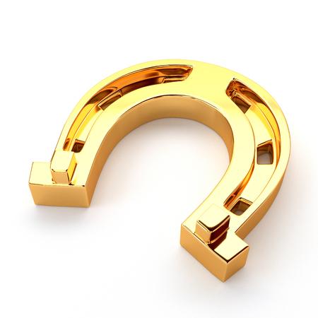 golden horseshoe: Gold horseshoe isolated on white background.