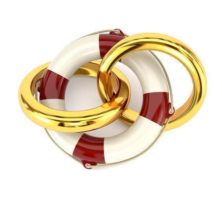 compromise: The concept of preservation of the family, wedding rings and a life buoy isolated on white background.