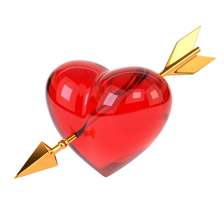 pierced: Red heart pierced by a golden arrow isolated on white background. Cupids arrow. 3d illustration.