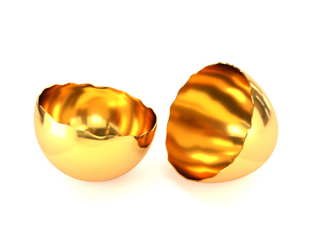 introduction: Golden cracked eggshell isolated on white background. The concept of the introduction of the new project. 3d illustration.