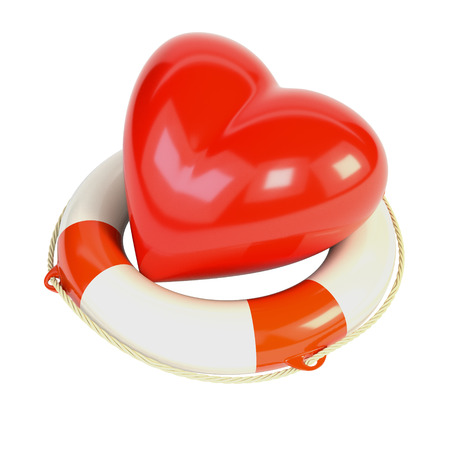 drown: Red heart and a life buoy, isolated on white background. 3d illustration.