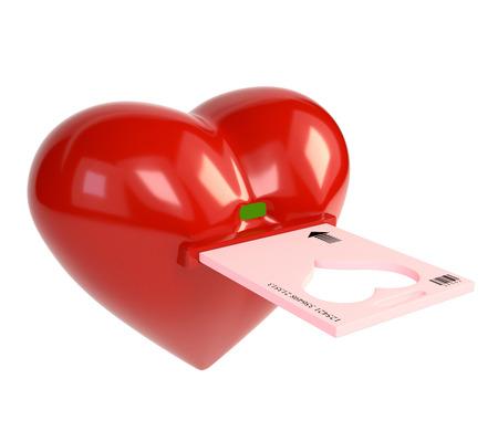 skeleton key: Red heart and skeleton key electronic key, isolated on white background. 3d illustration.