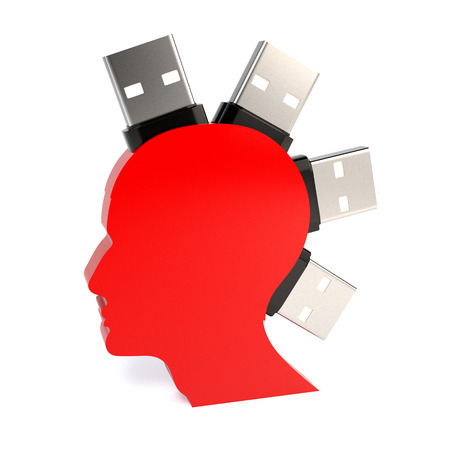 storage data product: Silhouette of a mans head with a flash drive, isolated on white background. Concept of information storage. 3d illustration.