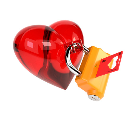 under heart: Red heart with padlock isolated on white background. Heart under lock and key. 3d illustration.