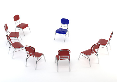 one on one meeting: Set of red chairs and one blue, isolated on white background. The concept of business meeting. 3d illustration. Stock Photo