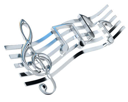stave: Chromed treble clef and the stave with one-eighth notes, isolated on a white background. Musical Symbol. 3d illustration.