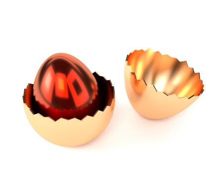 Oeuf rouge d'or dans la coquille d'oeuf isolé sur fond blanc. Illustration 3D