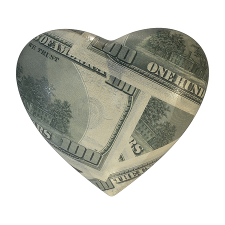 expensive: Vintage heart wrapped in dollar, isolated on white background. An expensive gift on Valentines Day. 3d illustration.