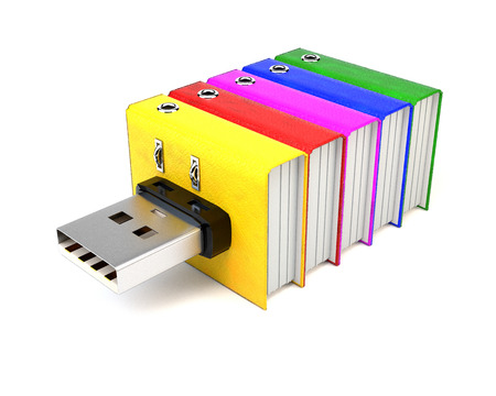 storing: Flash drive with folders, isolated on white background. The concept of storing information. 3d illustration.