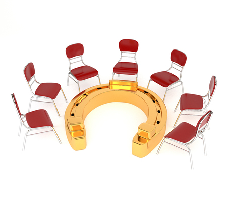 golden horseshoe: Set of red chairs and golden horseshoe isolated on a white background. The concept of successful business, profitable investments. 3d illustration. Stock Photo