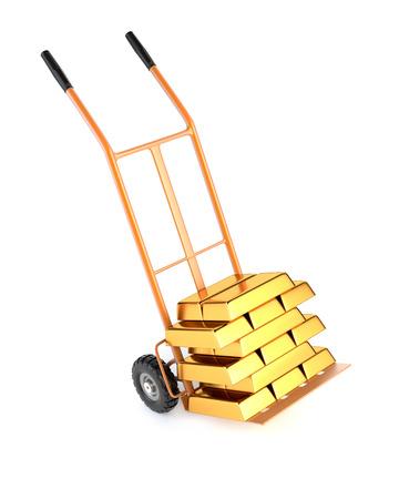 bullion: Truck and gold bullion, isolated on a white background. 3d illustration. Stock Photo