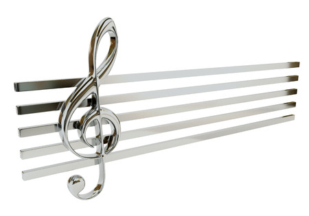 stave: Steel treble clef and the stave, isolated on a white background. Musical Symbol. 3d illustration. Stock Photo