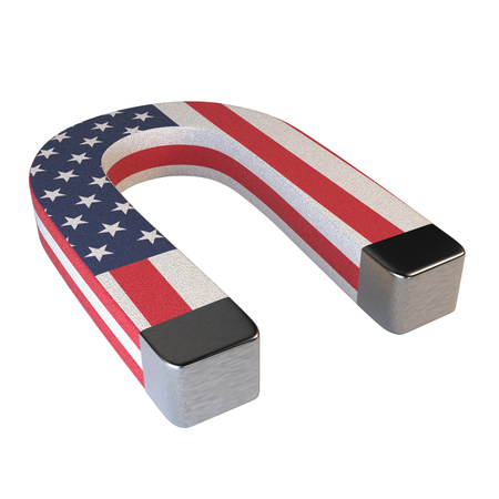iron horse: Horseshoe magnet and American flag isolated on white background. The concept of attracting American happiness. 3d illustration.
