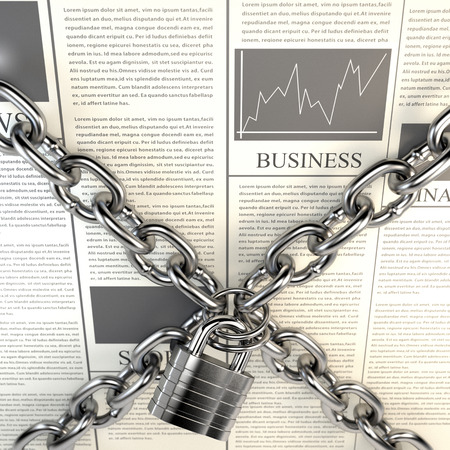 civil rights: Business Journal and chained padlock isolated on white background. The concept of media censorship and violation of the right of freedom of speech. 3d illustration.