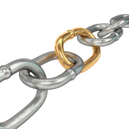 la union hace la fuerza: Cadena con eslab�n de oro, aislado en fondo blanco. Ilustraci�n 3D. Foto de archivo