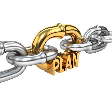 la union hace la fuerza: Cadena con eslab�n de oro aislado en el fondo blanco. El concepto de un exitoso negocio  plan estrat�gico 3d ilustraci�n. Foto de archivo