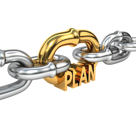 strategic plan: Chain with golden link isolated on white background. The concept of a successful business  strategic plan 3d illustration.