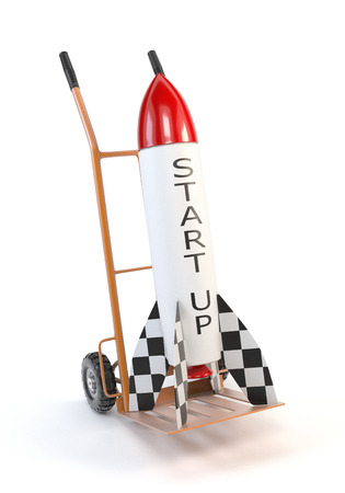 differentiate: Rocket on a trolley isolated on white background. The concept of the project, the start up. 3d illustration.