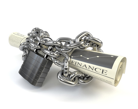 Newspaper fettered chain and padlock isolated on white background. The concept of media censorship and violation of the right of freedom of speech. 3d illustration.