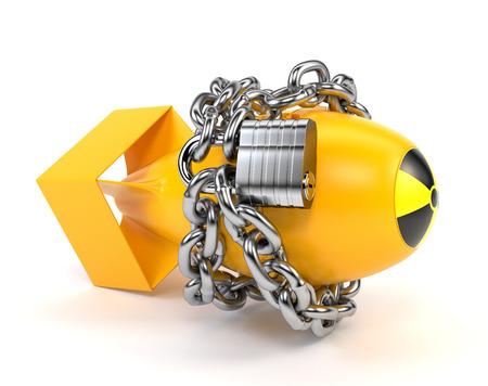 bombe atomique: bombe atomique jaune avec l'icône rayonnement, isolé sur un fond blanc. 3d illustration.